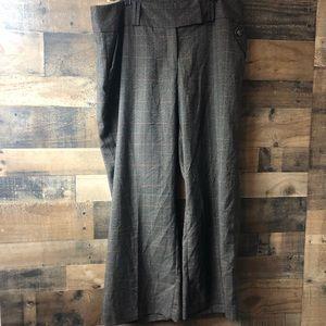 Ashley Stewart Brown Plaid Slacks Dress Pants